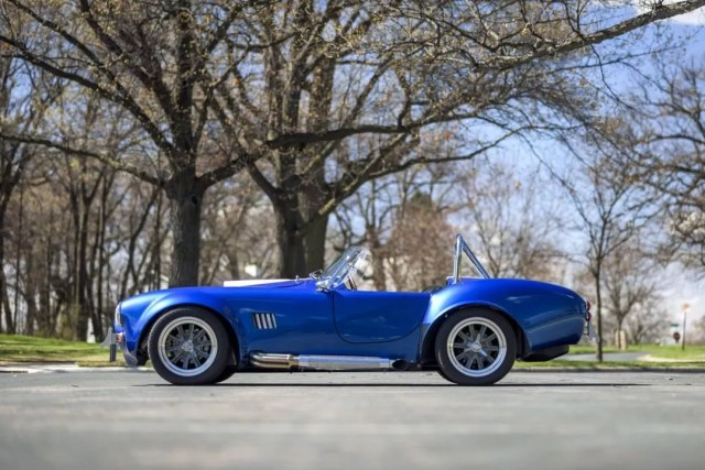 1965 Blue Shelby Cobra in a Park. Photo by Instagram user @morriesheritage