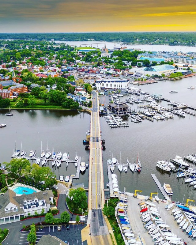 Aerial View of the Spa Creek Bridge Into Annapolis. Photo by Instagram user @dcsplicer1