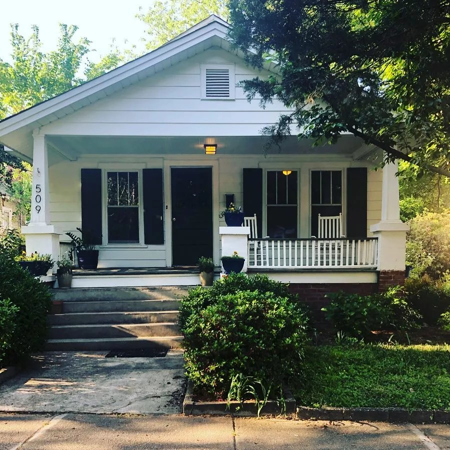 Small White Bungalow Home in Central Raleigh. Photo by Instagram user @kat_greenergrassre
