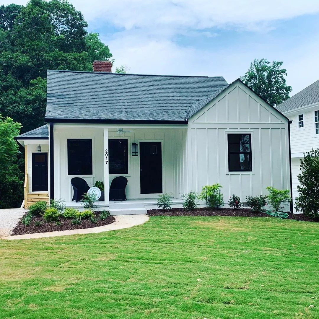 Modern White & Black Bungalow Home in Five Points, Raleigh. Photo by Instagram user @mrs.houses_houses