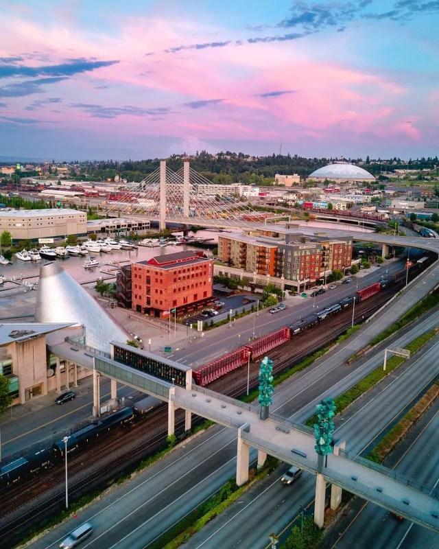 Aerial Shot of Downtown Tacoma, WA. Photo by Instagram user @j2g.creative