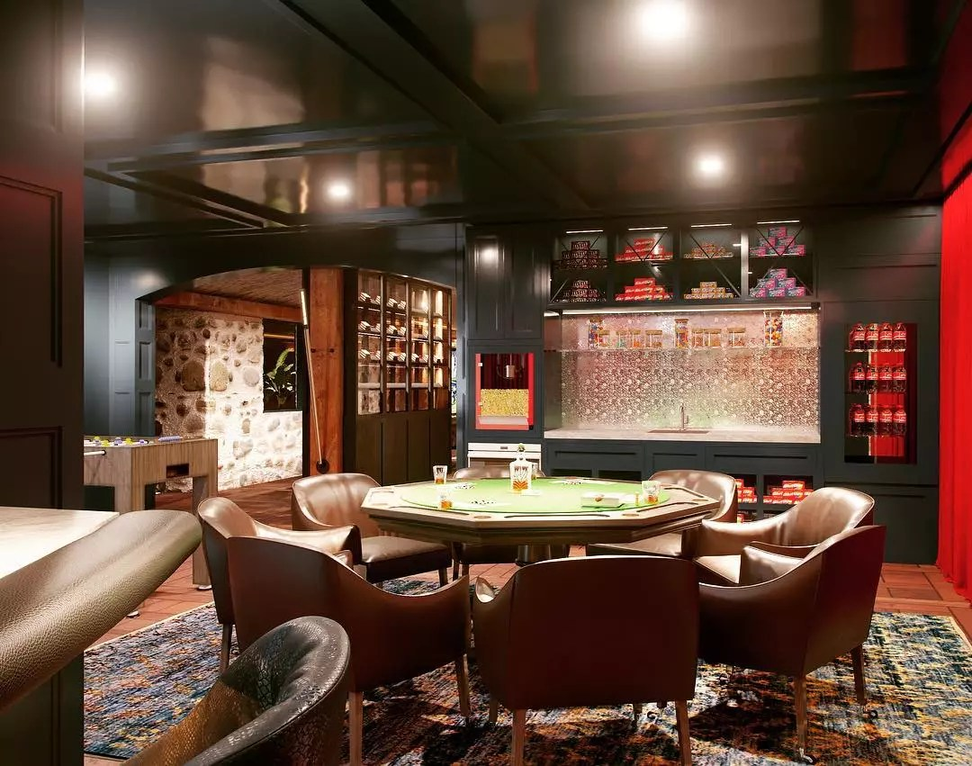 Classic Poker Room with Leather Seats and Nice Poker Table. Photo by Instagram user @dawsondesigngroup