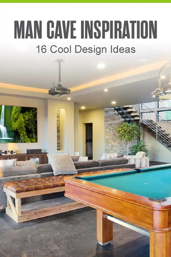 Pinterest Graphic: Man Cave Inspiration: 16 Cool Design Ideas