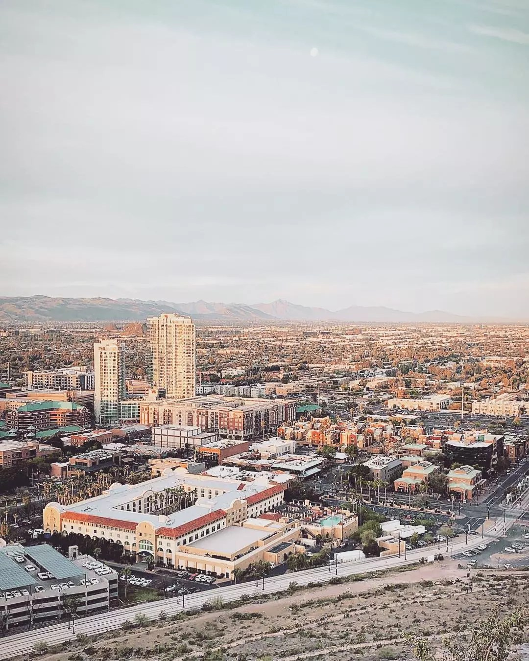 Aerial View of Downtown Tempe, AZ. Photo by Instagram user @rachmcmahon