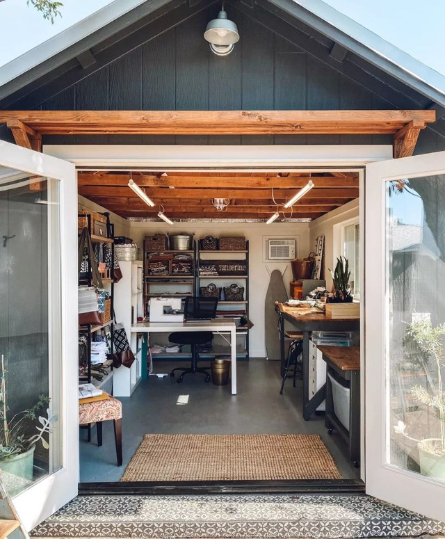 She Shed Filled with a Crafting Area and Table. Photo by Instagram user @sweettangerinechico