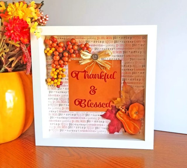 Fall Shadow Box with Thankful & Blessed Written. Photo by Instagram user @personalizedinspirations