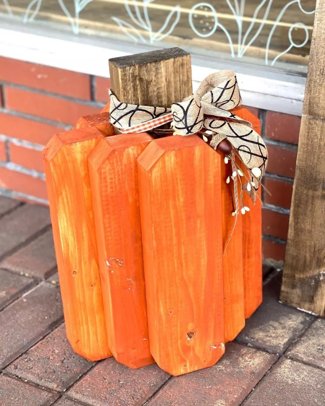 Pieces of Wood Nailed Together to Look like a Pumpkin. Photo by Instagram user @thesassycownc
