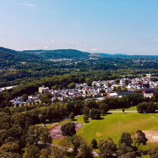 Drone Photo of Phillipsburg, NJ During the Day. Photo by Instagram user @drowsydrone