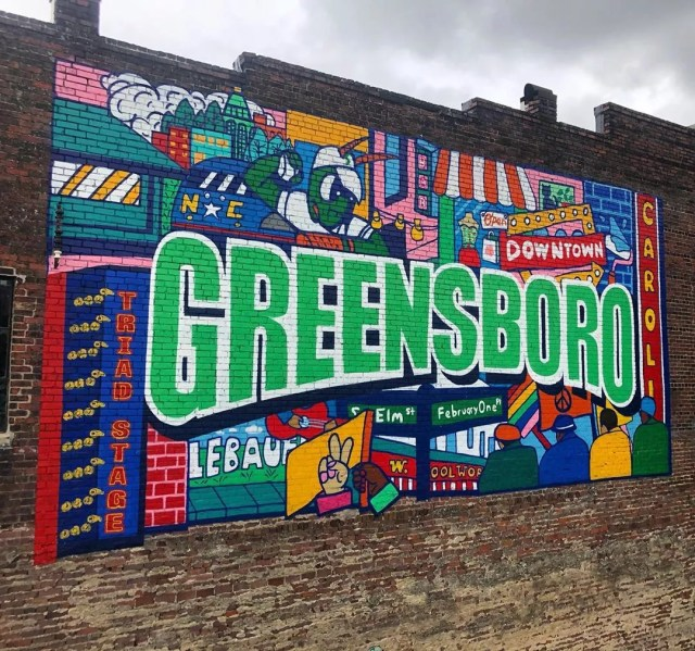 Mural on a Wall in Greensboro, NC. Photo by Instagram user @ginaelizabethfranco
