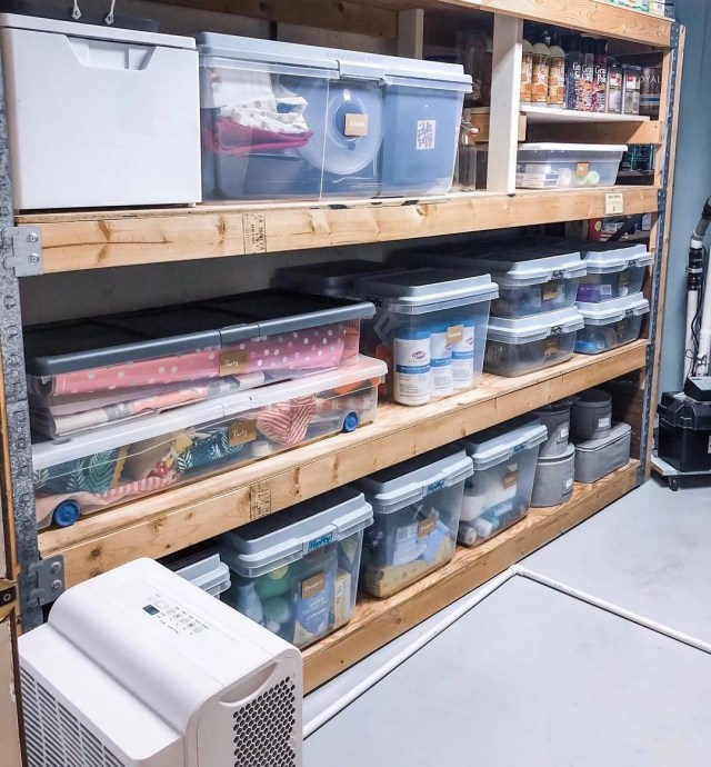 Basement Storage Space with Clear Storage Bins on Shelves. Photo by Instagram User @indianapolisneat