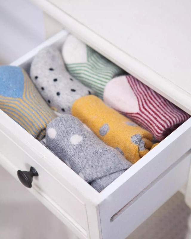 Drawer Pulled Out with Socks Showing. Photo by Instagram user @sueparkinsons