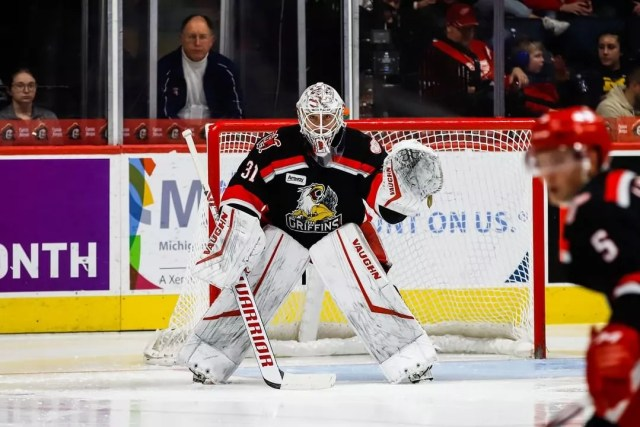 Grand Rapids Griffins goalie in the net. Photo by Instagram user @griffinshockey
