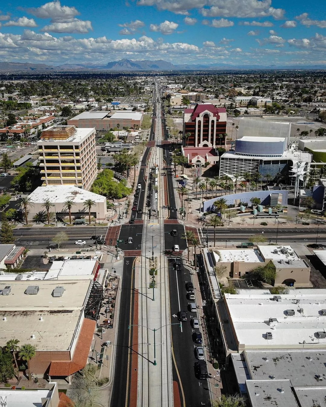 Drone Photo of Downtown Mesa. Photo by Instagram user @m44photography