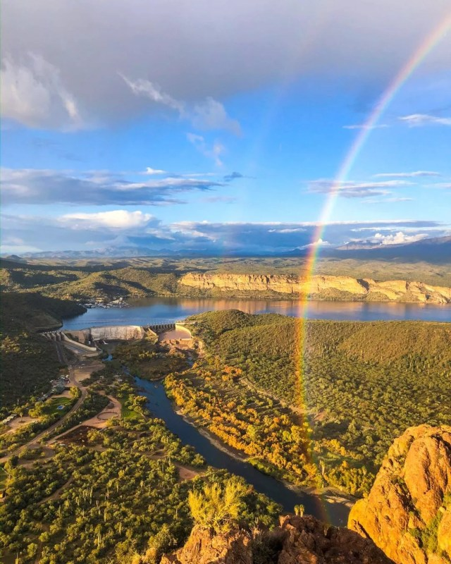 Photo of Saguaro Lake Guest Ranch with a Double Rainbow Visible. Photo by Instagram user @saguarolakeranch