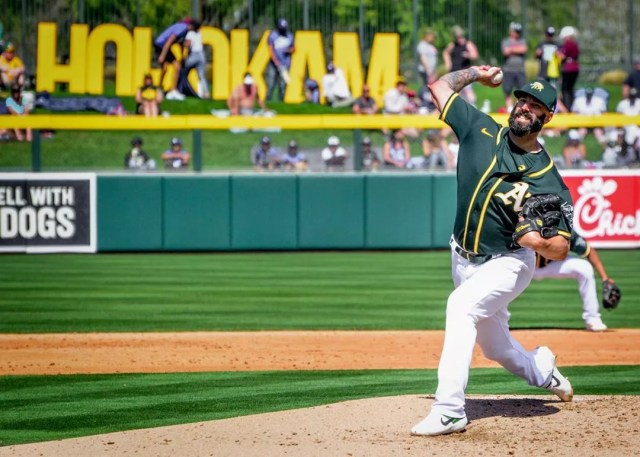 Mike Fiers of the Oakland A's Pitching at HoHoKam Stadium in Mesa. Photo by Instagram user @photosalad