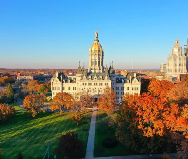 Drone view of the Connecticut State Capitol in Hartford, CT. Photo by Instagram user @roofwalker1.