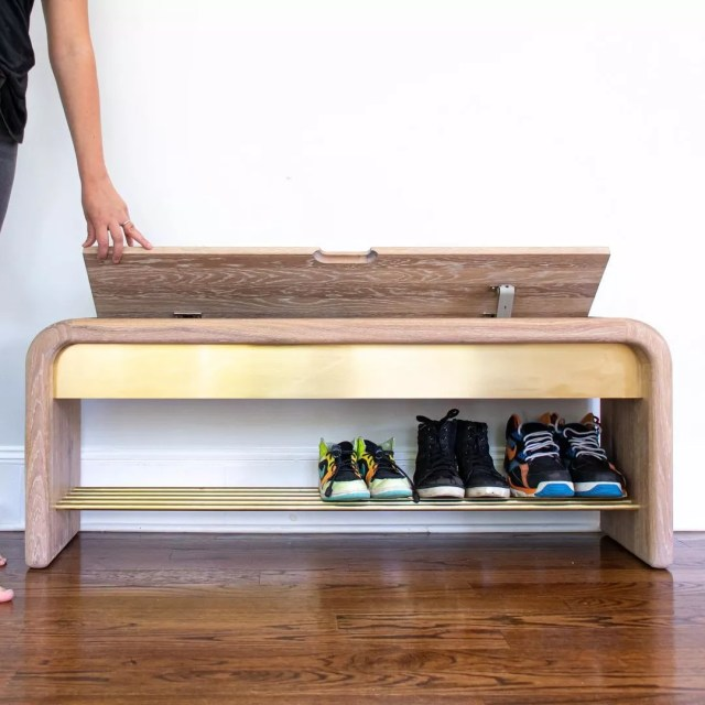 Bench with shoe storage rack underneath. Photo by Instagram User @3x3custom