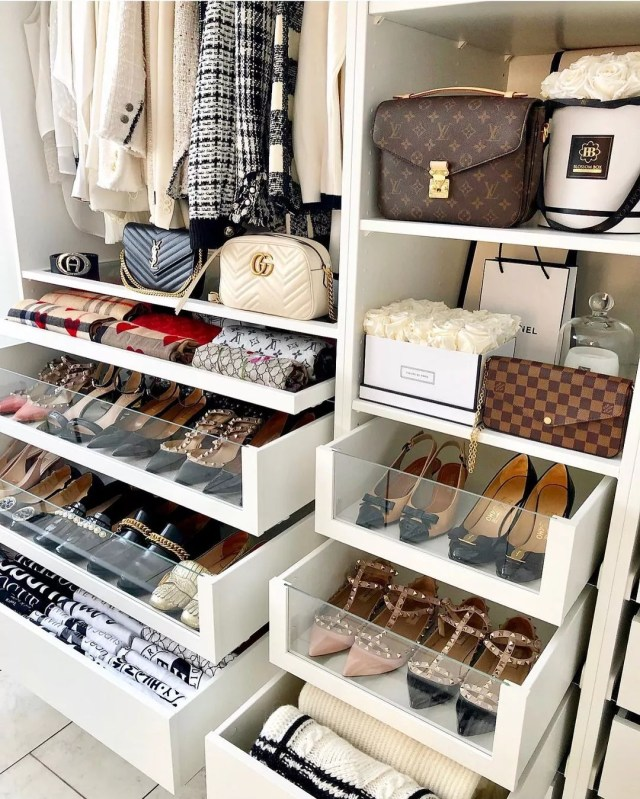 Closet with Built-In Shelves and Drawers for Shoe Storage. Photo by Instagram User @annainstyle_