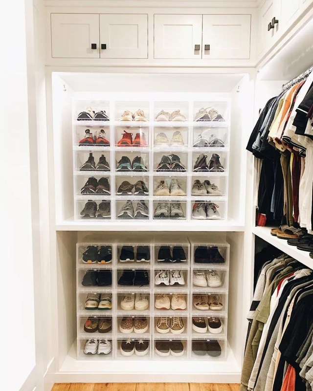 Stacks of Clear Shoe Boxes to Display Shoes. Photo by Instagram User @sdneat