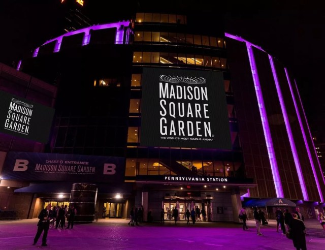 Outside of Madison Square Garden at Night. Photo by Instagram user @thegarden