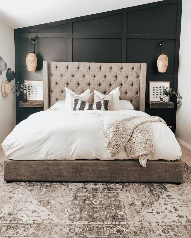 Farmhouse Style Master Bedroom with Board and Batten Feature Wall. Photo by Instagram user @linseywoods.home