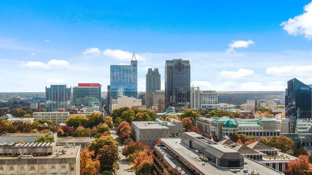 Photo of Downtown Raleigh on a sunny day. Photo by Instagram User @elancitycenter