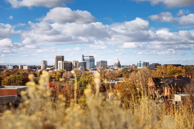Ground level shot of downtown Boise, ID from afar. Photo by Instagram user @visionkitstudio