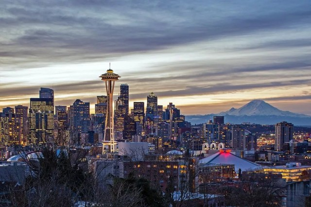 View of downtown Seattle at sundown, Mt Rainier in background. Photo by Instagram user @andrew.bondarchuk