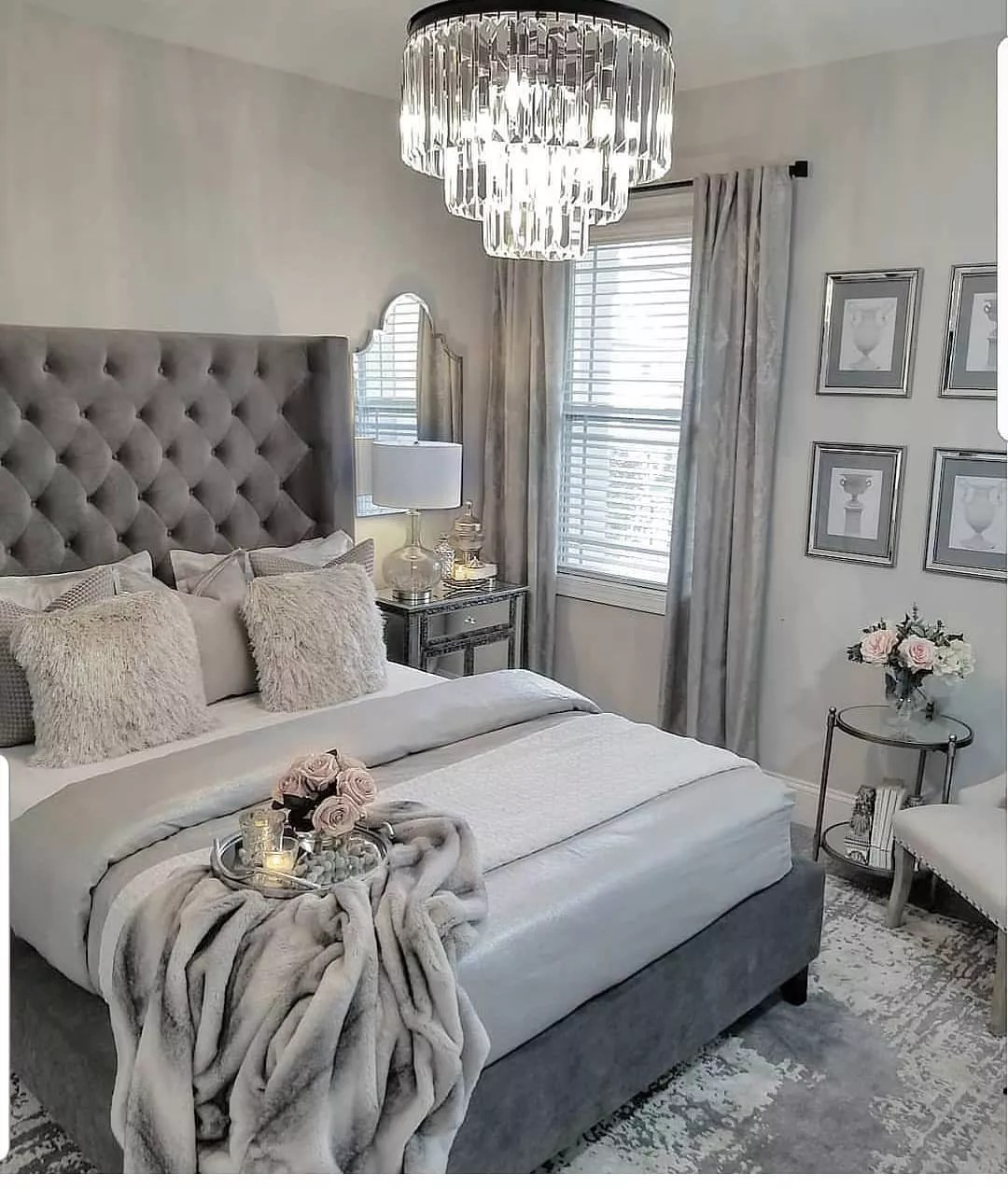 Room with varying shades of gray; the walls are pearl gray. Photo by Instagram user @lovefordesigns.