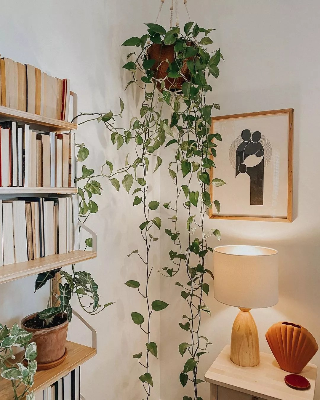 Corner of Japandi style room with a framed print and hanging pothos plant. Photo by Instagram user @coffeeandpoemss