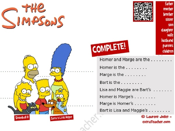 The Simpsons vocabulary Worksheet