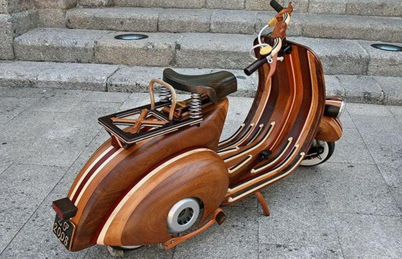 Wooden Vespa Motorcycle