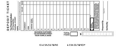 Loose Business Deposit Slips Style 26