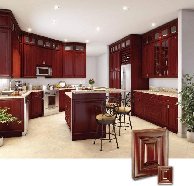 AD RTA Lexington Solid Wood Kitchen Cabinet, Alder wood, Cherry finish ...