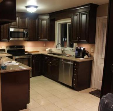 chocolate kitchen cabinets black rug espresso rta with dovetail drawers bristol