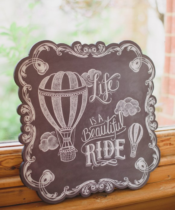 extremely lovely wedding balloon ride sign