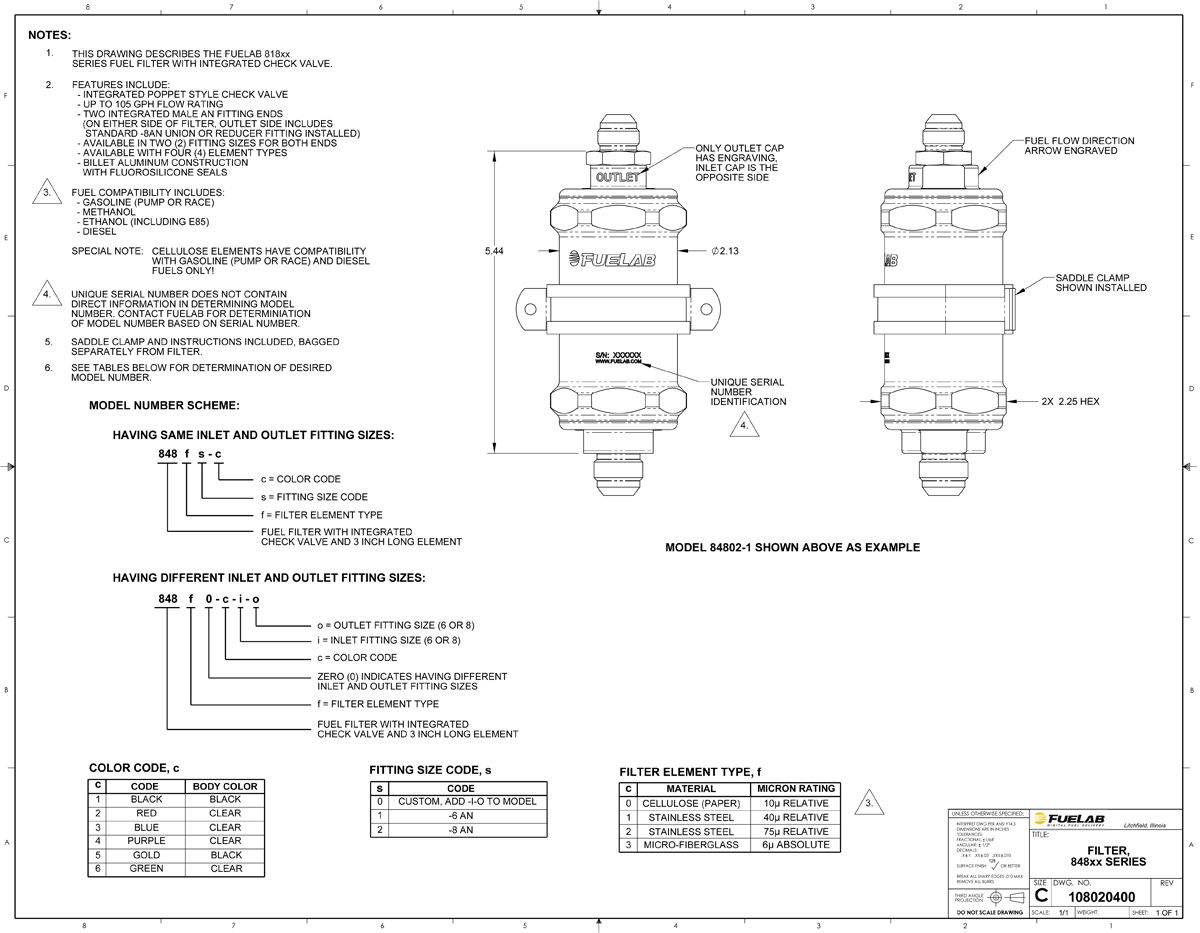 hight resolution of fuelab 848 series in line fuel filter with check valve 6an inlet oulet standard length 23953