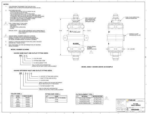 small resolution of fuelab 848 series in line fuel filter with check valve 6an inlet oulet standard length 23953