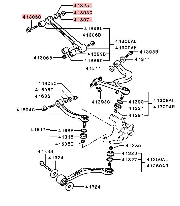 Parts Com Mitsubishi Rear Suspension Components