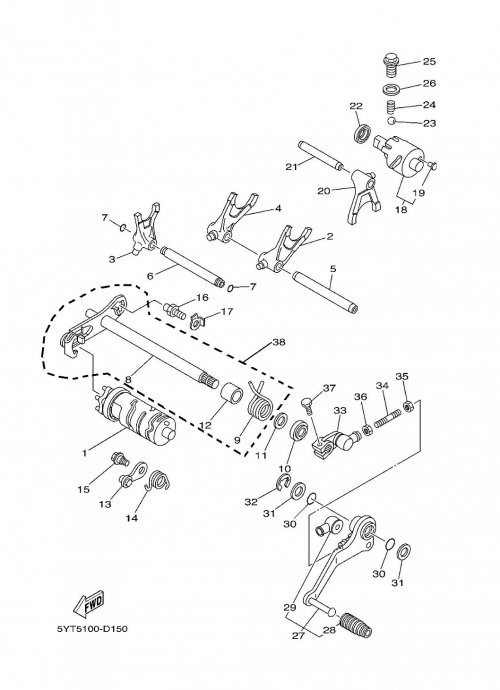 Barillet et fourchette de selection adaptables pour quad