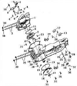 Eclate pieces detachees carter moteur scooter keeway