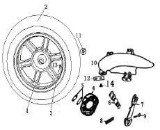 Eclate pieces detachees roue arriere scooter keeway matrix