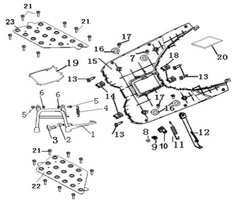 Eclate pieces detachees repose pieds scooter keeway matrix