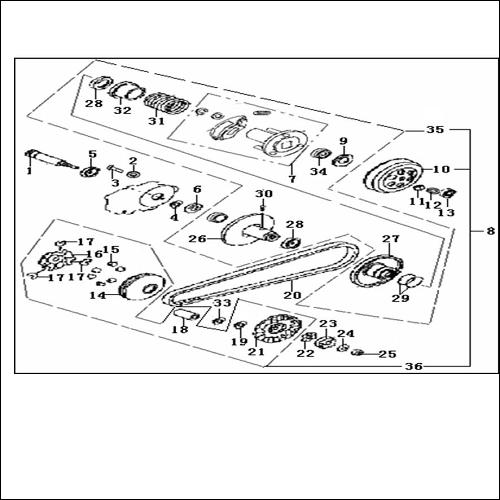 Eclate pieces detachees variateur embrayage scooter keeway