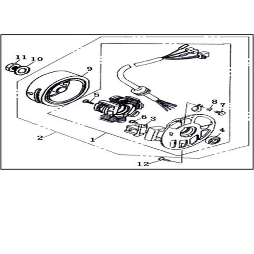 Eclate pieces detachees rotor stator scooter keeway