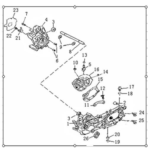 Eclate pieces detaches carter moteur scooter fact 50 focus
