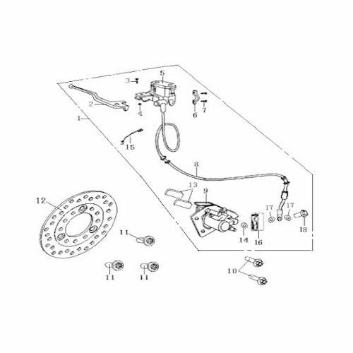 Eclate pieces detachees systeme de frein avant scooter