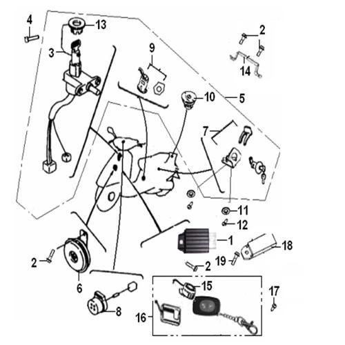 Eclate pieces detachees systeme electrique scooter keeway