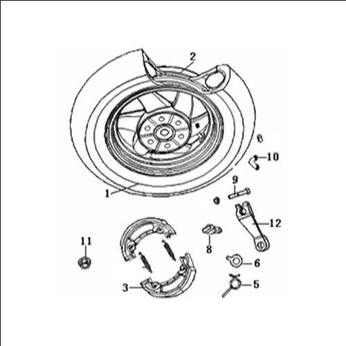 Eclate pieces detachees roue arriere scooter keeway