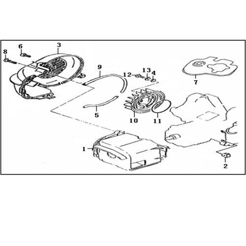 Eclate pieces detachees systeme de refroidissement scooter